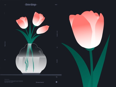 Tulips and vase flowers illustration grandiet tulip vase flower illustration flower layout poster art lines poster laconic illustration composition abstract minimal