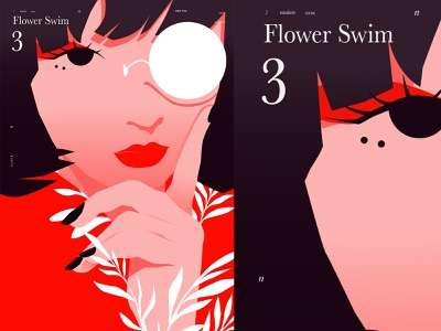 Flower Swim 3 poster art lines portrait illustration vectorart vector illustration girl portrait portrait poster laconic illustration composition abstract minimal