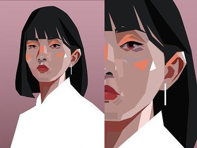Portrait vector portrait style test portrait illustration portrait art portrait girl portrait girl poster art lines poster laconic illustration composition abstract minimal