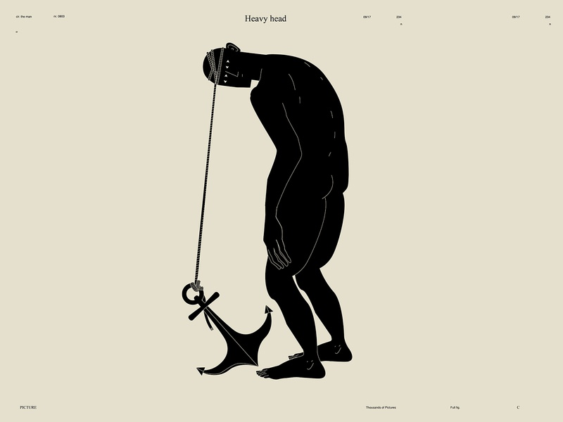 Heavy head dualmeaning thinking anchor conceptual illustration figure illustration figure man form poster art lines poster laconic illustration composition abstract minimal