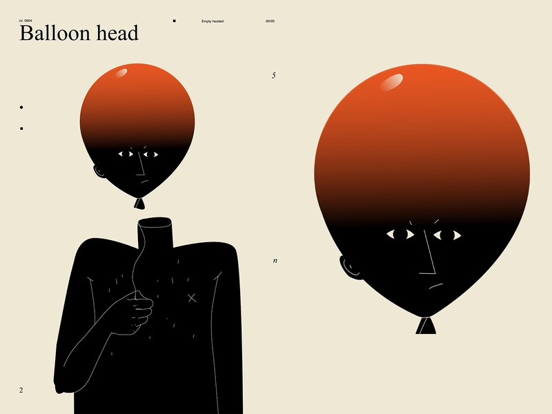 Balloon head empty conceptual illustration balloon head balloon layout poster art lines poster laconic illustration composition abstract minimal
