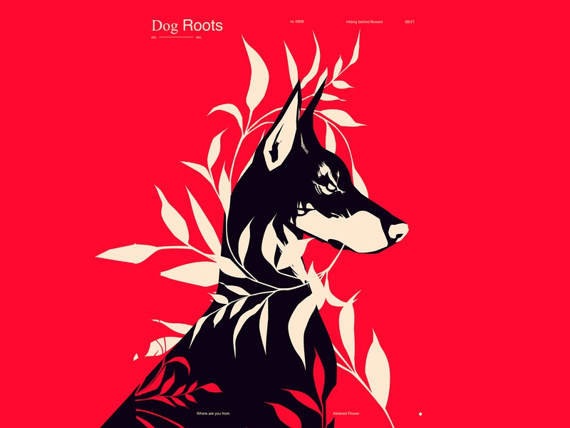 Dog animal illustration floral background floral dog illustration dog form layout poster art poster laconic illustration composition abstract minimal