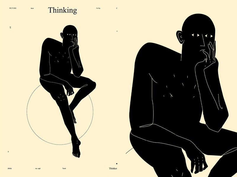 Thinking thinker thinking concept conceptual illustration man fragment figure illustration figure lines poster laconic illustration composition abstract minimal
