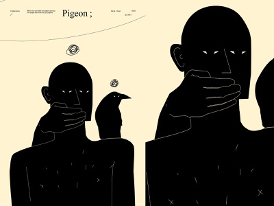 Pigeon frustration frustrated double meaning conceptual illustration hand mood crown poster art lines poster laconic illustration composition abstract minimal