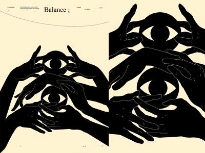 Balance dual meaning dualmeaning conceptual illustration eyeball eye hand illustrated hands poster art lines poster laconic illustration composition abstract minimal