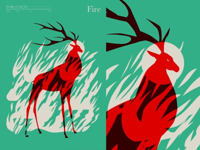 Fire wildlife save nature fire animal illustration animal art fragment poster a day poster art lines poster laconic illustration composition abstract minimal