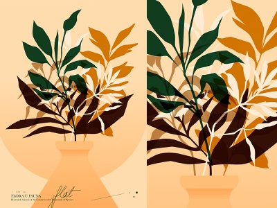 Flat Leaves editorial illustration editorial flat illustration flower illustration floral pattern floral leaves poster art lines poster laconic illustration composition abstract minimal