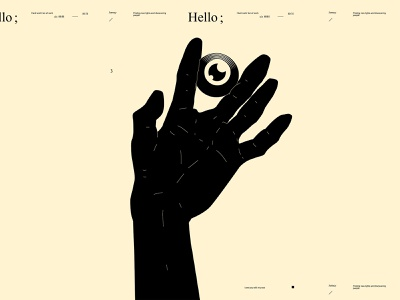 Hello conceptual illustration dual meaning hand illustration eye hand eye illustration poster art lines poster laconic illustration composition abstract minimal