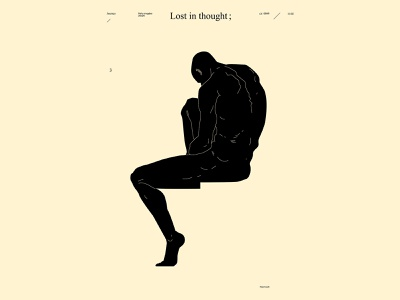 Lost in thought dualmeaning sculptural thinker conceptual illustration lost figure illustration figure man poster art lines poster laconic illustration composition abstract minimal
