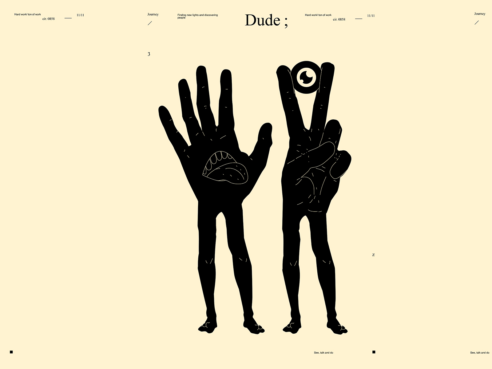 Dude dual meaning conceptual illustration see talk mouth illustration mouth eye illustration eye hand illustration poster art lines poster laconic illustration composition abstract minimal