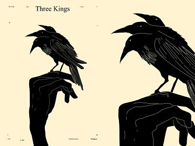Three Kings kind three heads head bird illustration bird crow illustration crow hand illustration poster art lines poster laconic illustration composition abstract minimal