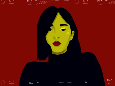 Strange portrait portrait art color women portrait girl portrait portrait illustration portrait poster art lines poster laconic illustration composition abstract minimal