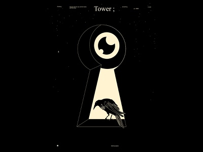 Tower eyeball eye illustration crow illustration bird illustration tower sky crow bird eye keyhole key poster art lines poster laconic illustration composition abstract minimal