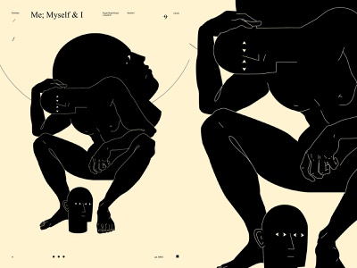 Me, Myself and I covid dual meaning conceptual illustration thinking thinker head figure illustration figure poster art lines poster laconic illustration composition abstract minimal