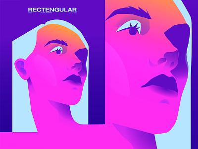 Rectangular minimalistic shapes portrait art portrait illustration neon neon light rectangular portrait poster art lines poster laconic illustration composition abstract minimal