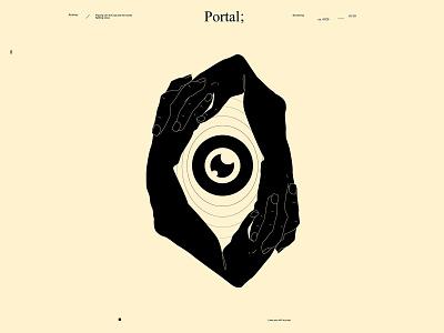 Portal mysterious mystical eyeball illustration eyeball eye hand illustration hand poster art lines poster laconic illustration composition abstract minimal