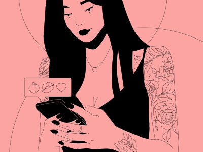 Texting characterdesign instagram babe tattoo girl illustration girl character character character design poster art lines poster laconic illustration composition abstract minimal