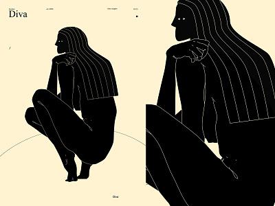 Diva figure woman illustration girl women diva figure illustration poster art lines poster laconic illustration composition abstract minimal