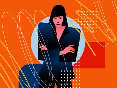 Business woman pattern texture business woman illustration woman girl poster art lines poster laconic illustration composition abstract minimal
