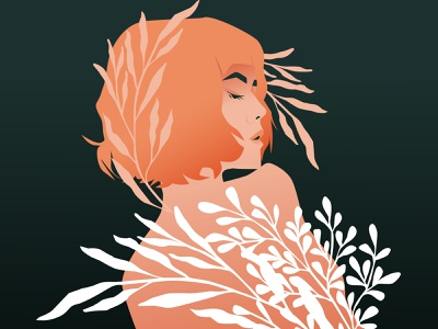 Mellow leaves floral pattern floral portrait illustration girl portrait girl illustration girl poster art lines poster laconic illustration composition abstract minimal