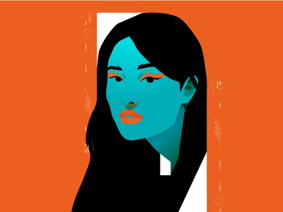 Look girl character portrait illustration girl illustration girl layout poster art lines poster laconic illustration composition abstract minimal