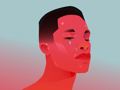 Filter man make up filter portrait illustration portrait laconic illustration composition abstract minimal