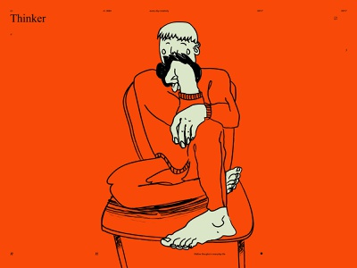 Thinker thinkers figure grunge textures thinker form poster art lines poster laconic illustration composition abstract minimal
