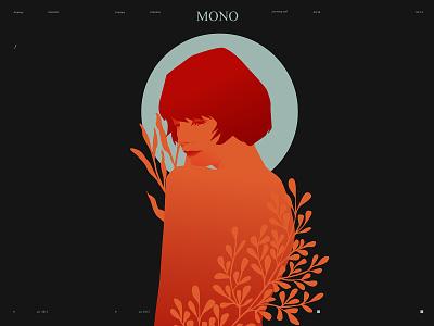 Mono woman character woman illustration woman portrait woman portrait illustration flat girl illustration girl laves floral laconic illustration composition abstract minimal