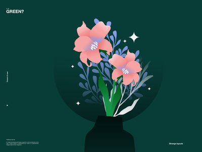 Pink flowers in green flowers illustration vase floral flowers poster laconic illustration composition abstract minimal