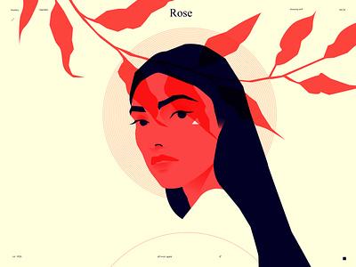 Rose minimalistic minimalist girl portrait leaves portrait illustration portrait girl poster art lines poster laconic illustration composition abstract minimal