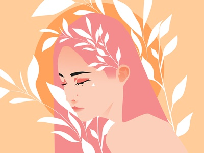 Jolita portrait illustration girl illustration girl character girl portrait floral pattern floral leaves girl lines poster laconic illustration composition abstract minimal