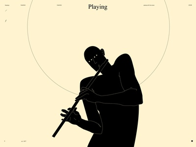 Playing with the nerves conceptual illustration music playing play flute figure illustration figure man form poster art lines poster laconic illustration composition abstract minimal