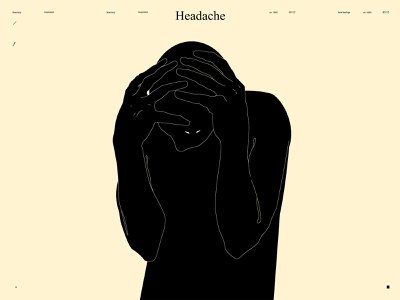 Headache sad face figure illustration figure headache hands form lines poster laconic illustration composition abstract minimal