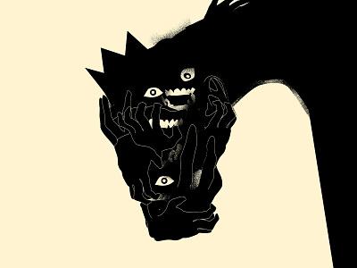 Masks bizarre illustration portrait face shadow king crazy masks bizarre hands mask lines poster laconic illustration composition abstract minimal