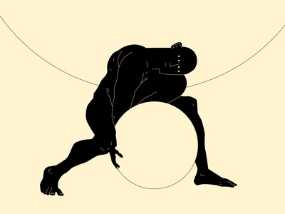 Sisyphus conceptual illustration dual meaning push figure illustration figure sisyphus stone man poster a day lines poster laconic illustration composition abstract minimal