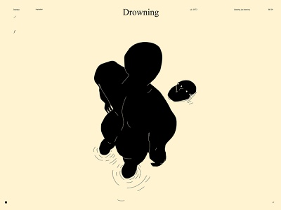 Drowning depression psychology emotional drowning lines poster laconic illustration composition abstract minimal