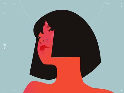 Mei splashy girl portrait girl illustration girl portrait illustration portrait lines poster laconic illustration composition abstract minimal
