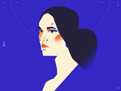 Key girl portrait girl illustration girl portrait illustration splash portrait lines poster laconic illustration composition abstract minimal