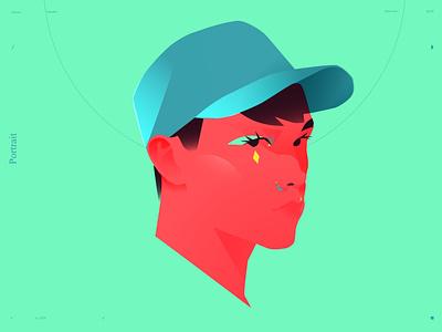 Boy cap boy portrait boy portrait illustration portrait lines poster laconic illustration composition abstract minimal