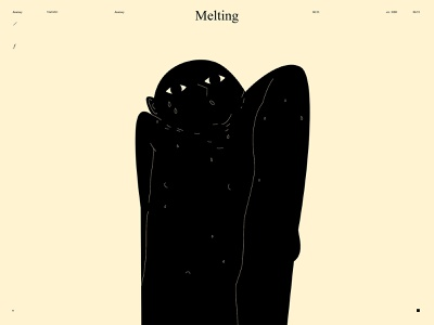 Melting conceptual illustration emotional dual meaning sweat sweaty heat wave heat melting lines poster laconic illustration composition abstract minimal