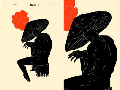 Mushroom conceptual illustration editorial figure illustration figure mushroom illustration smoke mushroom design lines poster laconic illustration composition abstract minimal