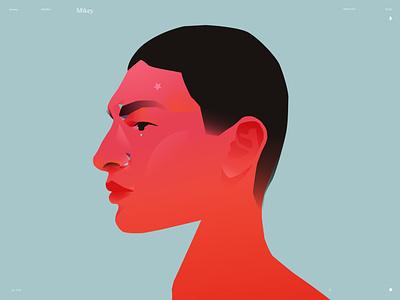 Casual portrait: Mikey colorful portrait art portrait illustration portrait make up design lines poster laconic illustration composition abstract minimal