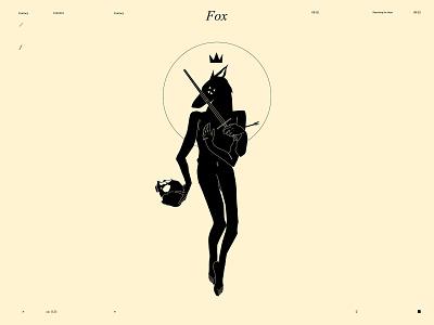 Fox mythological sword skull fox tattoo design tattoo bizzare lines poster laconic illustration composition abstract minimal