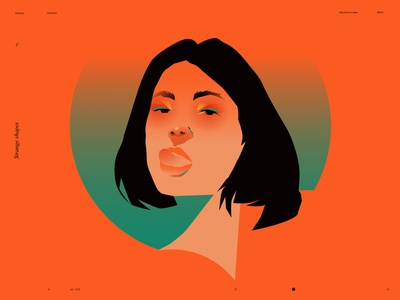 Strange shapes layout bloom fire tongue woman illustration girl illustration girl portrait woman portrait splash color portrait illustration portrait design lines poster laconic illustration composition abstract minimal