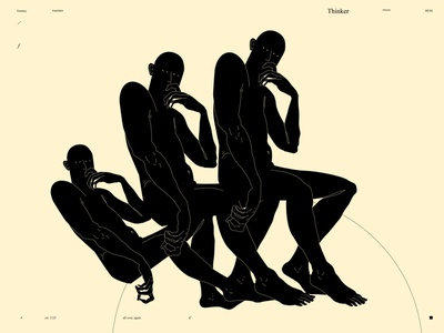 Thinker dual meaning conceptual illustration figure illustration figure thinker design lines poster laconic illustration composition abstract minimal