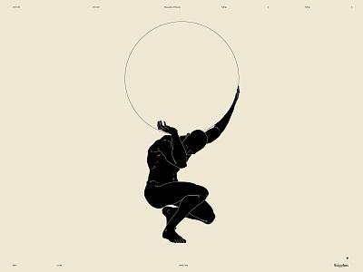 Sisyphus dual meaning conceptual illustration circle figure illustration figure atlas myth sisyphus design lines poster laconic illustration composition abstract minimal