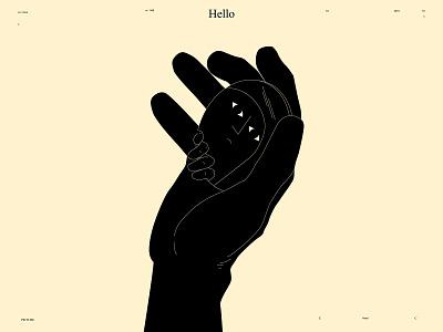 Hello?! conceptual illustration mirror illustration mirror self hand illustration hand lines poster laconic illustration composition abstract minimal