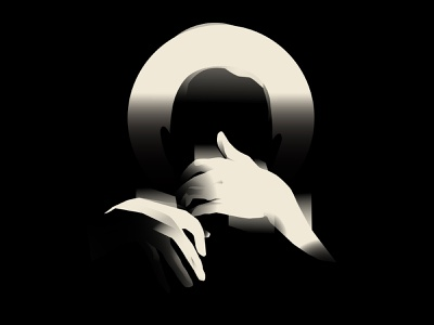 Lonely nights silhouette lonely dark noir art noir hands illustration hands design lines poster laconic illustration composition abstract minimal