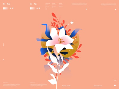 Autumn flowers grandient leaves illustration botanical illustration floral illustration floral autumn flower illustration leaves flower design lines poster laconic illustration composition abstract minimal