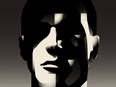 Shadow man portrait portrait illustration portrait shadow design lines poster laconic illustration composition abstract minimal